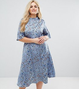 Read more about Alice you midi dress with high neck in vintage floral - dusty blue floral