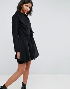Read more about Asos skater coat with self belt and oversized collar - black