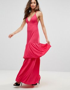 Read more about Club l plunge neck ruffle layer detail maxi dress - red rouge