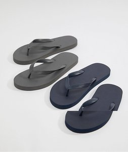Read more about Asos design flip flops 2 pack in navy and grey save - multi
