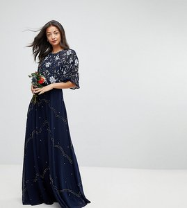 Read more about Asos design tall bridesmaid embellished floral flutter sleeve maxi dress - navy
