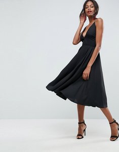 Read more about Asos strappy back plunge midi dress - black