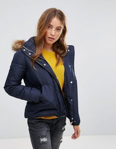 Read more about Lee puffer jacket with sherpa lined hood - midnight blue