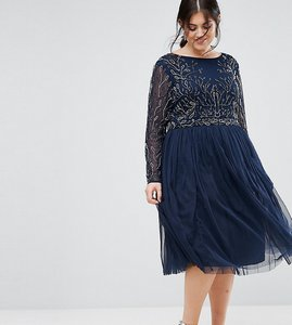 Read more about Lovedrobe luxe embellished skater dress with tulle skirt - navy