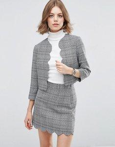 Read more about Asos scalloped edge to edge tweed jacket - mono