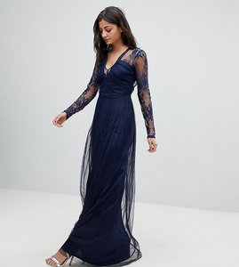 Read more about Asos tall lace maxi dress with long sleeves - navy