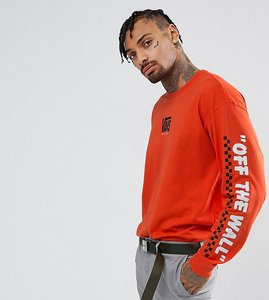 Read more about Vans throwback long sleeve t-shirt with arm print in orange exclusive to asos - orange