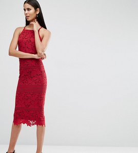 Read more about Asos tall lace floral scallop midi dress - raspberry