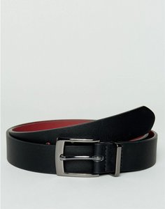 Read more about Asos smart faux leather slim belt in black with metal keeper - black