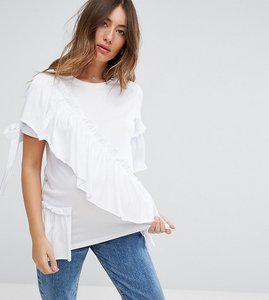 Read more about Asos maternity t- shirt with ruffle and bow detail - white