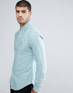 Read more about Polo ralph lauren stripe shirt oxford slim fit buttondown in green - shamrock white