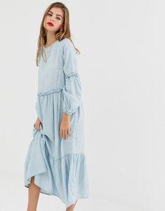 Read more about Asos design denim midi tiered smock dress in lightwash blue