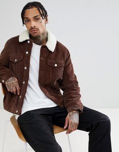 Read more about Asos design cord western jacket with borg collar in brown - brown
