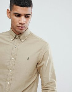 Read more about Polo ralph lauren slim fit garment dyed shirt polo player in tan - tan