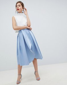Read more about Asos design scuba wrap prom skirt with split and tie waist - forever blue