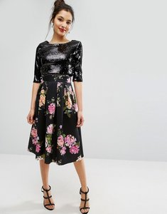 Read more about Asos dark floral scuba prom skirt - multi
