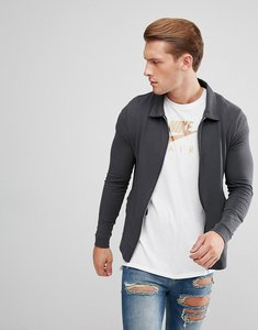 Read more about Asos lightweight muscle jersey harrington jacket in washed black - bal