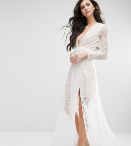 Read more about Fame and partners tall laced heaven maxi dress with split - white