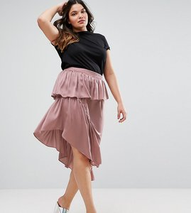 Read more about Asos curve deconstructed midi skirt in satin - mauve