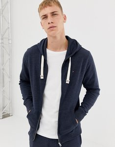 Read more about Tommy hilfiger flag logo full zip hoodie in navy marl - navy blazer