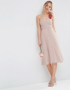 Read more about Asos wedding ruched midi dress with corsage strap - nude