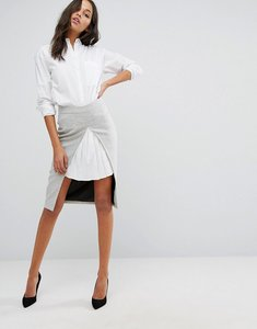 Read more about Y a s skirt with white pleat insert - grey