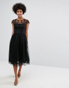 Read more about Chi chi london premium lace midi prom dress with lace neck - black