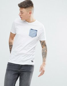 Read more about Brave soul chambrey check pocket t-shirt - white