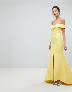 Read more about Jarlo bardot maxi dress with thigh split and train detail - lemon