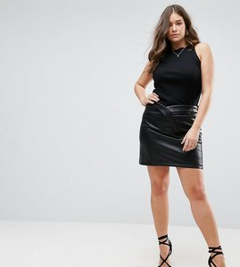 Read more about Asos curve textured leather look mini skirt - black