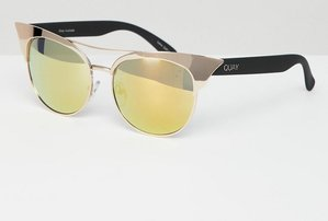 Read more about Quay australia zig aviator sunglasses with brow detail in gold - gold gold