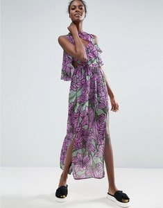 Read more about Asos made in kenya ruffle overlay maxi dress in large floral print - floral