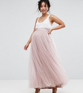 Read more about Little mistress maternity maxi tulle prom skirt - mink