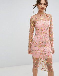 Read more about Prettylittlething embroidered sheer midi dress - pink