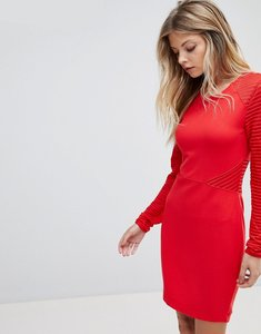 Read more about French connection jersey panel bodycon dress - red
