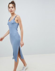 Read more about Asos design knot strap rib column dress - chambray