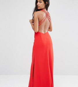 Read more about Fame and partners maxi dress with crossback detail and cut outs - red