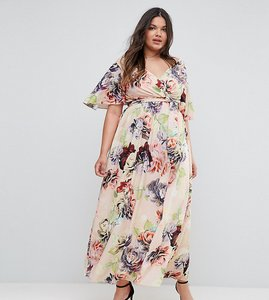 Read more about Asos curve wedding print soft flutter sleeve maxi dress - multi