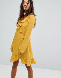 Read more about Vila spotty wrap dress - yellow