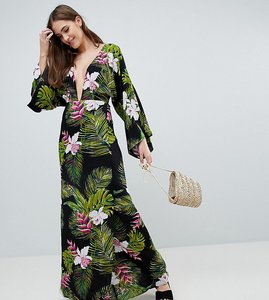 Read more about Asos design tall dark tropical palm print long sleeve plunge beach maxi dress - dark tropical