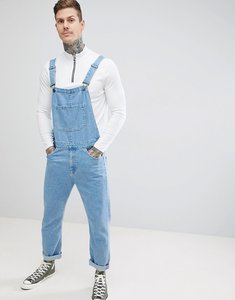 Read more about Asos design skinny denim dungarees in mid wash blue - mid wash blue