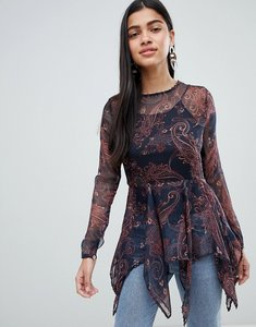 Read more about Qed london printed chiffon top with hanky hem - black