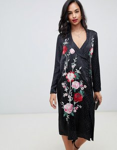 Read more about Asos design embroidered jacquard midi dress with long sleeves and collar