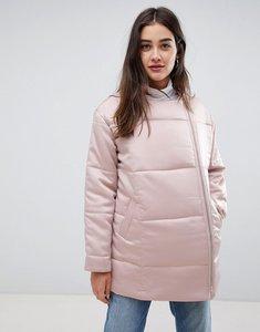 Read more about Glamorous velvet padded longline jacket - light pink
