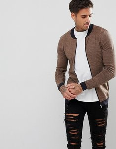 Read more about Asos knitted muscle fit bomber jacket in camel twist - tan