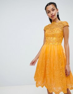 Read more about Chi chi london premium lace midi dress with cap sleeve - marigold