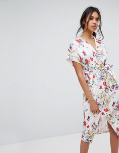 Read more about Closet london wrap front midi dress - multi print