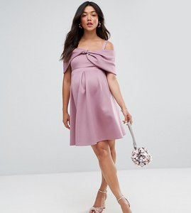 Read more about Asos maternity bow front off the shoulder bardot skater mini dress