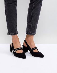 Read more about Raid carlin black sling mid heeled shoes - black suede