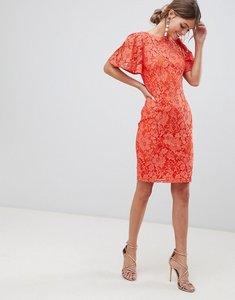 Read more about Paper dolls flutter sleeve pencil dress - orange